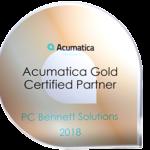 Acumatica Gold Certified Partner PC Bennett Solutions 2018 award.