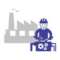 Case studies manufactures icon.