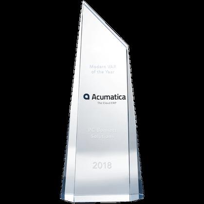 Modern VAR of the Year Acumatica The Cloud ERP PC Bennett Solutions 2018 award.