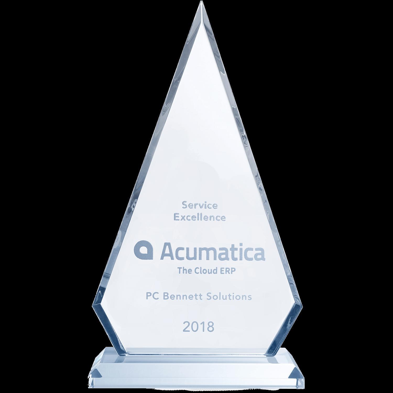 Service Excellence Acumatica The Cloud ERP PC Bennett Solutions 2018 award.