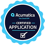 Acumatica ERP award badge for certified application.
