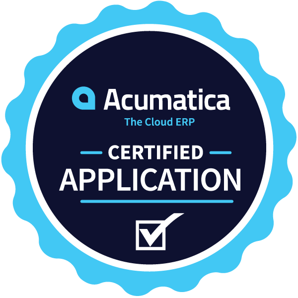 Acumatica ERP award badge for certified application.