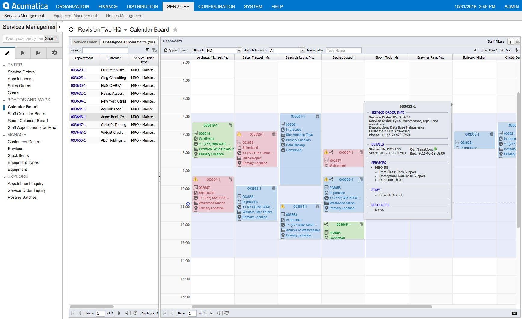 Screenshot of Acumatica's Visual Scheduling Board.