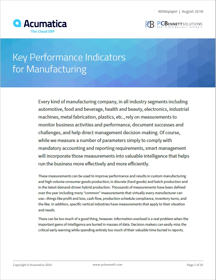 Acumatica Whitepaper - Manufacturing KPIs Feature Image.