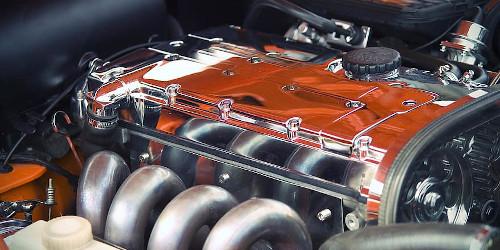 A shiny automobile engine.