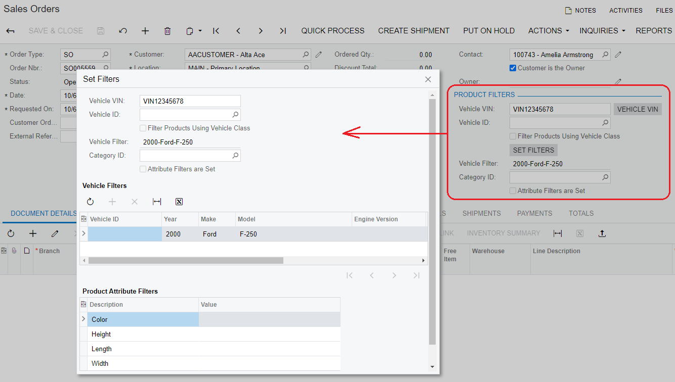 Screenshot of sales order with filters popup Acumatica automotive parts erp accounting.