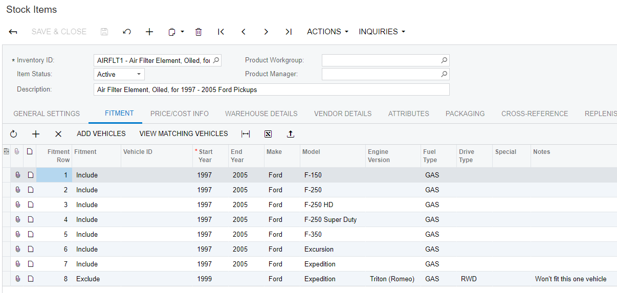 Screenshot of stock item fitment Acumatica automotive parts erp accounting.