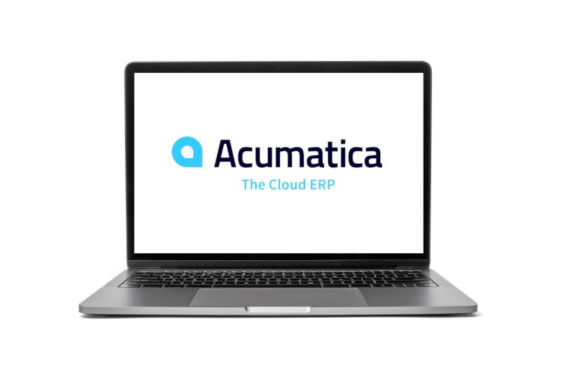 Acumatica logo on a laptop computer.