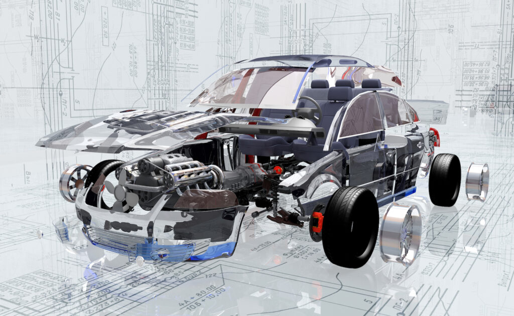 Graphic of car with translucent exterior so interior auto parts can be displayed.