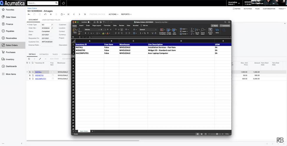 Acumatica Excel Order Template